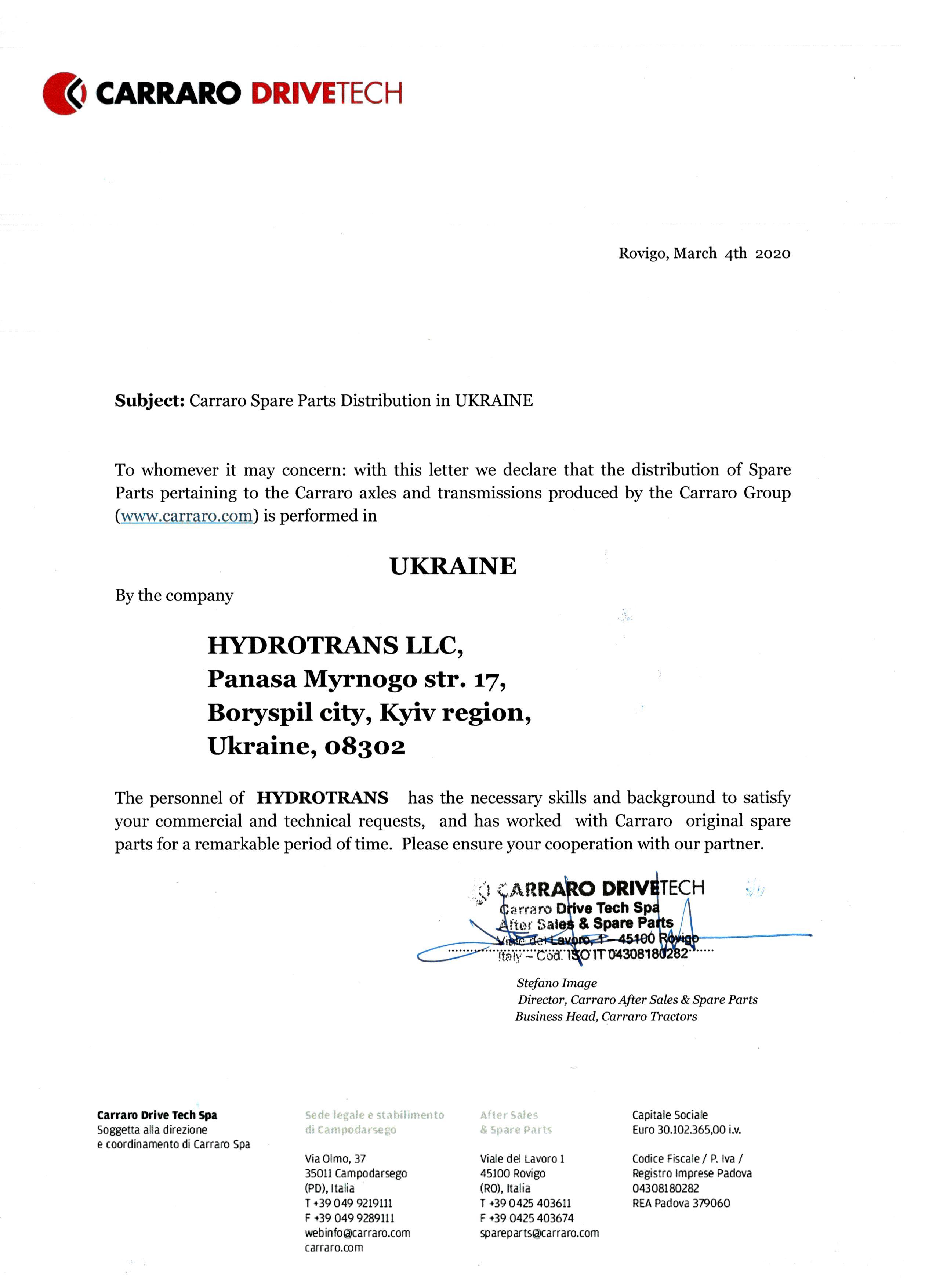 carraro certificate